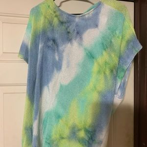 Blue/Green Tie Dye Open Back Top
